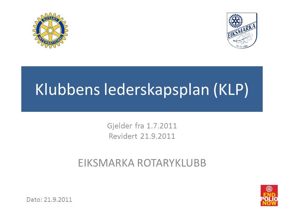 Klubbens lederskapsplan (KLP) Gjelder fra 1.7.2011 Revidert 21.9.2011 EIKSMARKA ROTARYKLUBB Dato: 21.9.2011