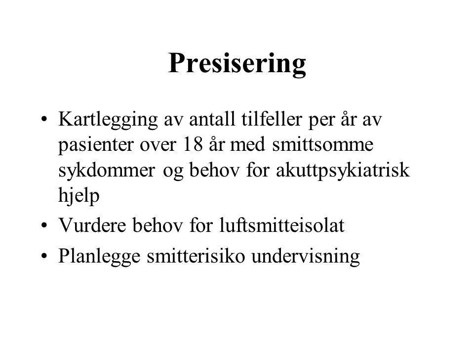 Presisering •Kartlegging av antall tilfeller per år av pasienter over 18 år med smittsomme sykdommer og behov for akuttpsykiatrisk hjelp •Vurdere beho