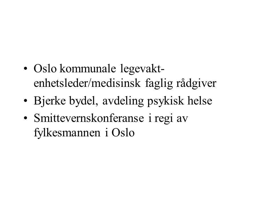 •Oslo kommunale legevakt- enhetsleder/medisinsk faglig rådgiver •Bjerke bydel, avdeling psykisk helse •Smittevernskonferanse i regi av fylkesmannen i