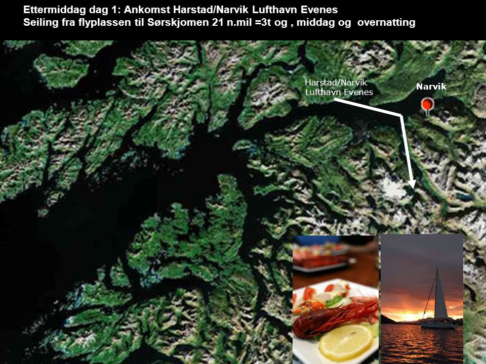 Narvik Ettermiddag dag 1: Ankomst Harstad/Narvik Lufthavn Evenes Seiling fra flyplassen til Sørskjomen 21 n.mil =3t og, middag og overnatting Narvik Harstad/Narvik Lufthavn Evenes