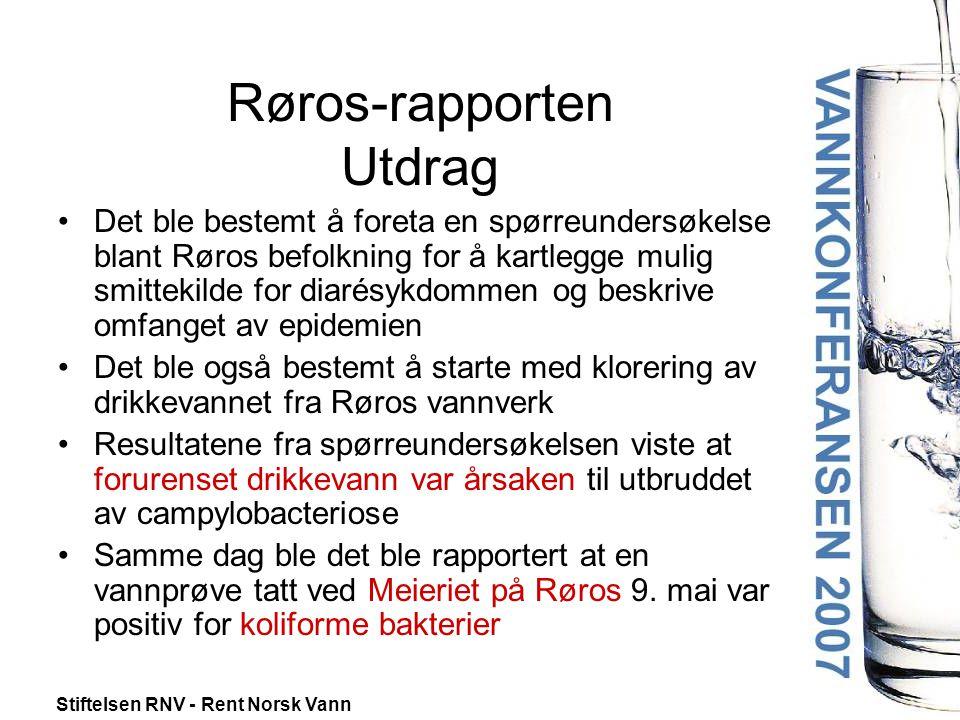 Stiftelsen RNV - Rent Norsk Vann Røros-rapporten Utdrag •Undersøkelsen viser at i underkant av halvparten av personene som får vann fra Røros Vannverk var syke under utbruddet, og at utbruddet ikke var begrenset til noen spesiell del av vannforsyningsnettet.