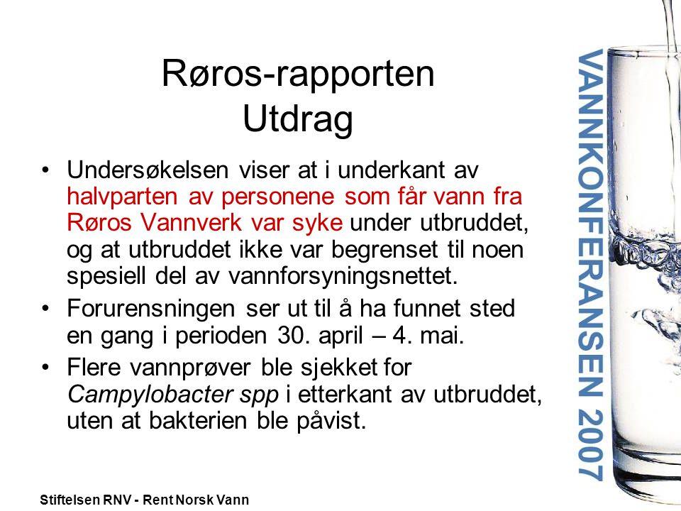 Stiftelsen RNV - Rent Norsk Vann Røros-rapporten Utdrag •I nedre vannforsyningssone har det forekommet store og samtidige vannuttak som kan ha resultert i trykkløst nett, i verste fall undertrykk.
