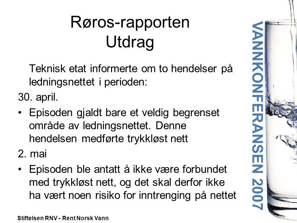 Stiftelsen RNV - Rent Norsk Vann Røros-rapporten Utdrag •Det tas normalt ukentlige vannprøver •Prøvene tatt 25.