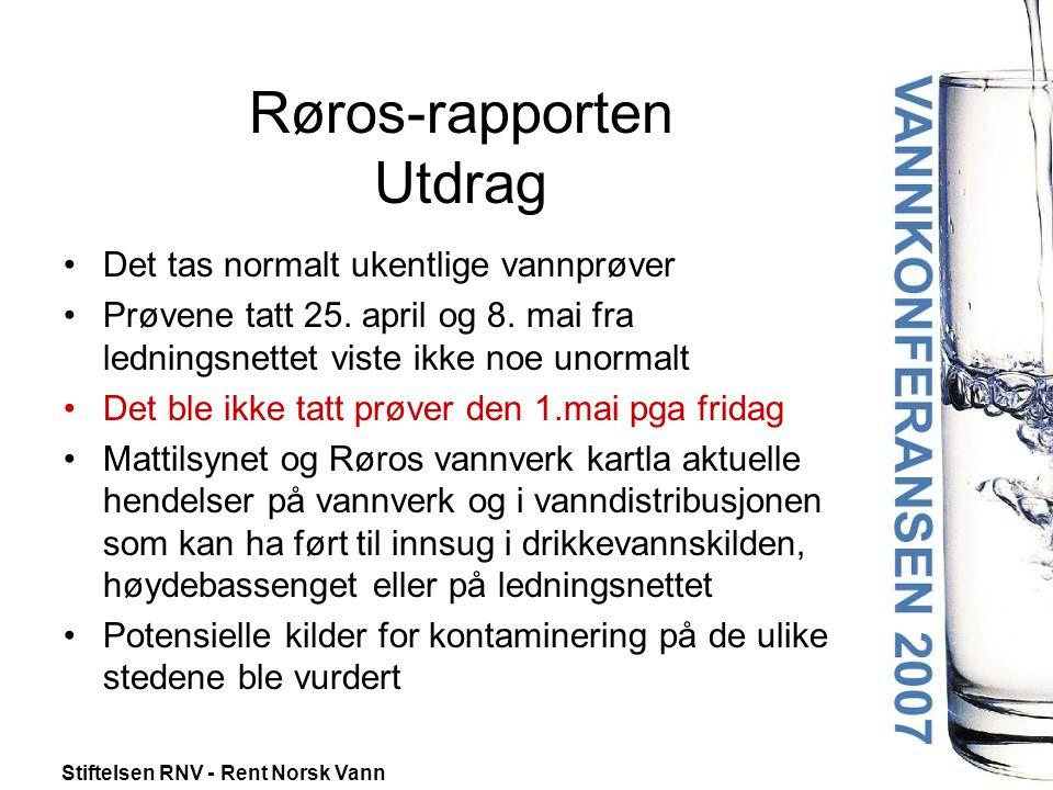 Stiftelsen RNV - Rent Norsk Vann Røros-rapporten Utdrag •Det tas normalt ukentlige vannprøver •Prøvene tatt 25. april og 8. mai fra ledningsnettet vis