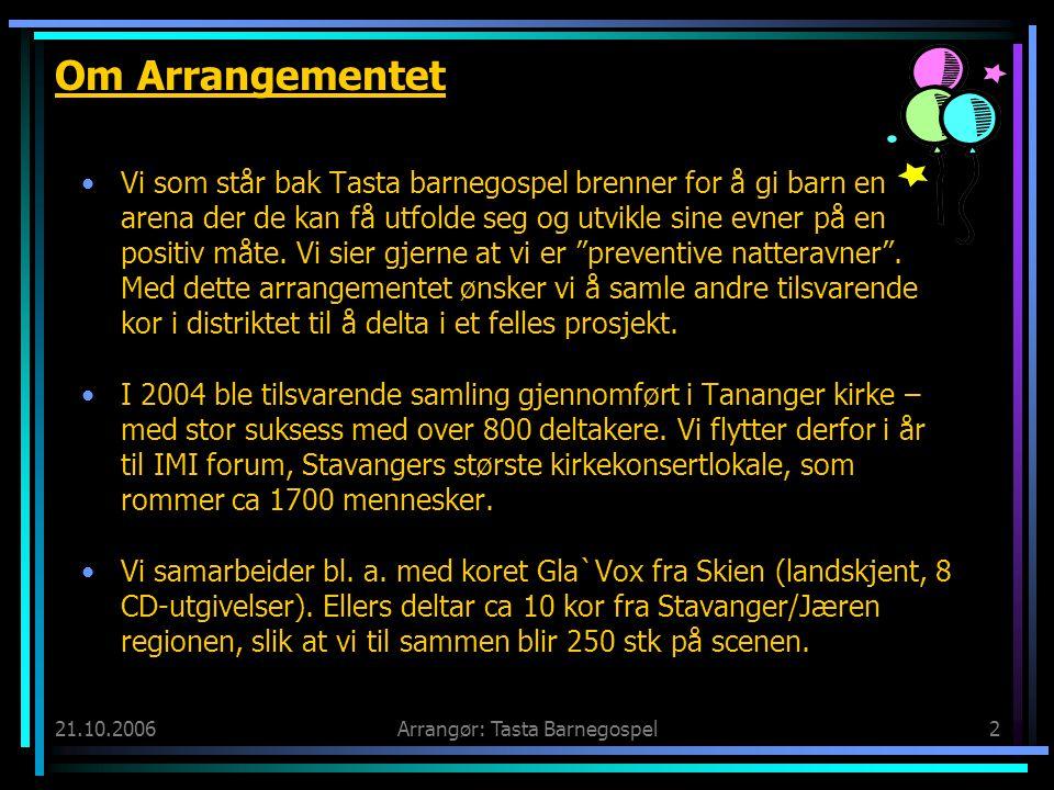 21.10.2006Arrangør: Tasta Barnegospel2 Om Arrangementet •Vi som står bak Tasta barnegospel brenner for å gi barn en arena der de kan få utfolde seg og