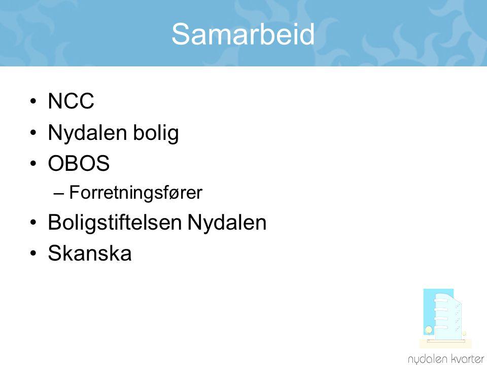 Samarbeid •NCC •Nydalen bolig •OBOS –Forretningsfører •Boligstiftelsen Nydalen •Skanska