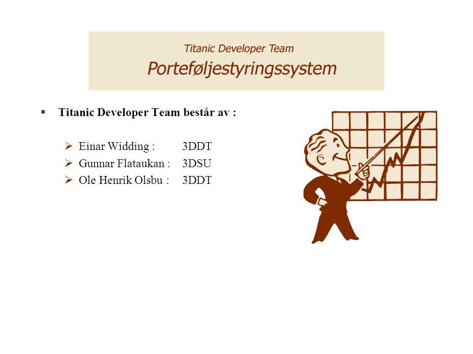  Prosjekt Porteføljestyringssystem  Det er et samarbeide med mellom -Titanic Developer Team -Rådgivende Økonomer ASA  I tillegg er disse firmaene deltakere.