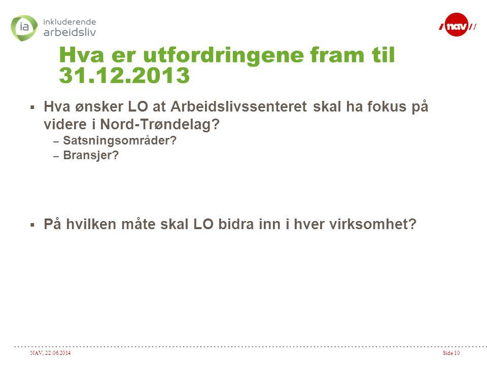 NAV, 22.06.2014Side 10 Hva er utfordringene fram til 31.12.2013  Hva ønsker LO at Arbeidslivssenteret skal ha fokus på videre i Nord-Trøndelag? – Sat