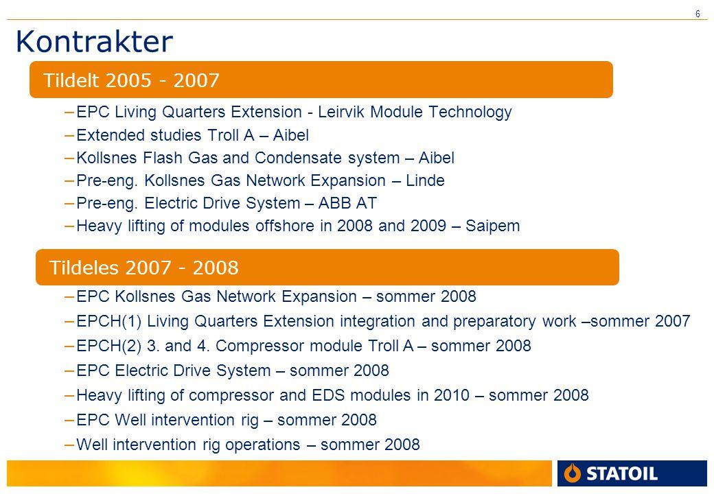 6 Kontrakter – EPC Living Quarters Extension - Leirvik Module Technology – Extended studies Troll A – Aibel – Kollsnes Flash Gas and Condensate system