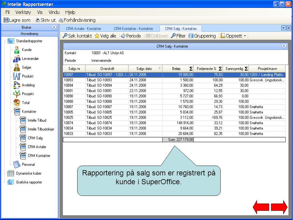 Rapportering på salg som er registrert på kunde i SuperOffice.