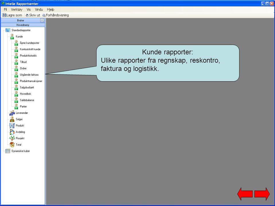 Kunde rapporter: Ulike rapporter fra regnskap, reskontro, faktura og logistikk.