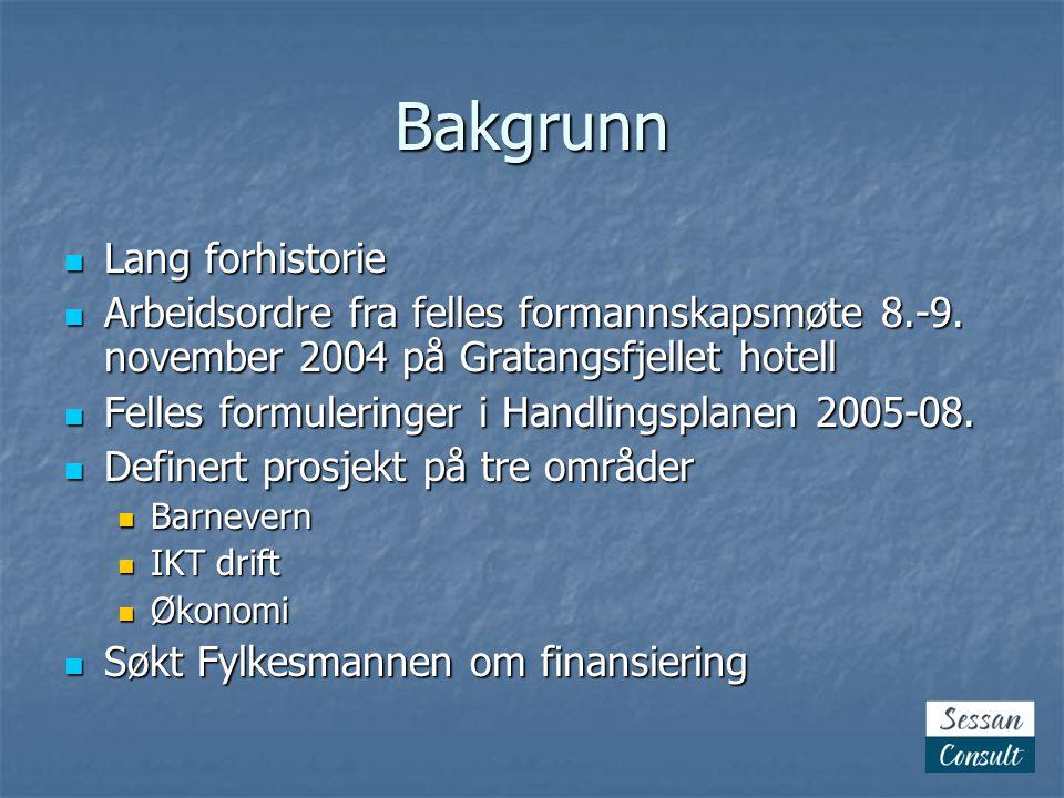 Prosjektet realiseres  Fylkesmannen finansierer med tkr 550  Prosjektene organiseres  Engasjement som prosjektleder lyses ut  Ole Kristian Severinsen engasjert for 12 mnd  Startsamling (Kick-off) på Gratangsfjellet hotell 7.-8.
