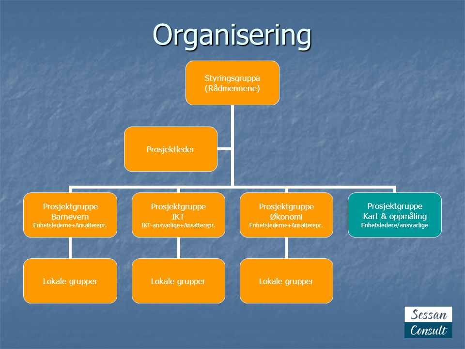 Organisering Styringsgruppa (Rådmennene) Prosjektgruppe Barnevern Enhetslederne+Ansatterepr. Lokale grupper Prosjektgruppe IKT IKT-ansvarlige+Ansatter