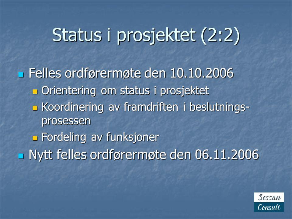 Status i prosjektet (2:2)  Felles ordførermøte den 10.10.2006  Orientering om status i prosjektet  Koordinering av framdriften i beslutnings- prose