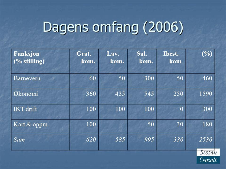 Dagens omfang (2006) Funksjon (% stilling) Grat. kom. Lav. kom. Sal. kom. Ibest. kom (%) Barnevern605030050460 Økonomi3604355452501590 IKT drift100 03