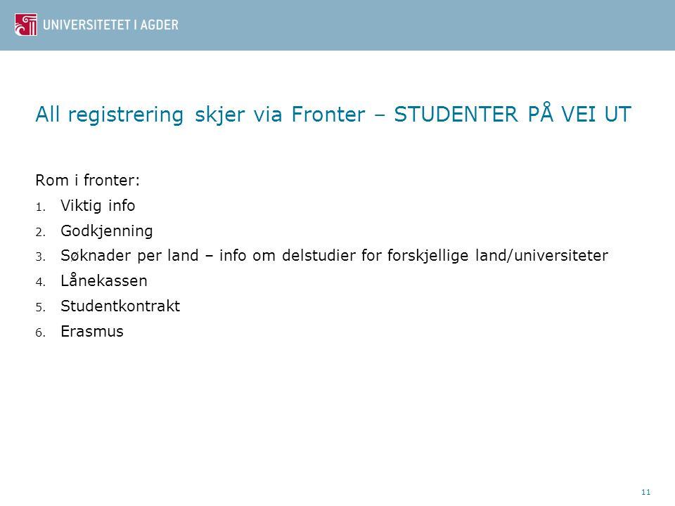 11 All registrering skjer via Fronter – STUDENTER PÅ VEI UT Rom i fronter: 1. Viktig info 2. Godkjenning 3. Søknader per land – info om delstudier for