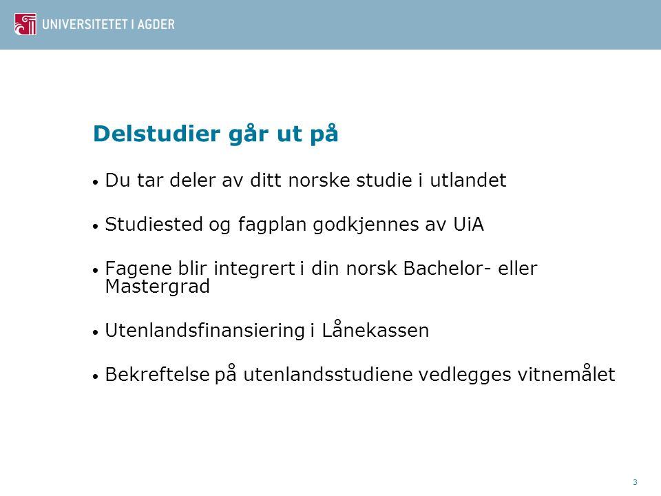 3 Delstudier går ut på • Du tar deler av ditt norske studie i utlandet • Studiested og fagplan godkjennes av UiA • Fagene blir integrert i din norsk Bachelor- eller Mastergrad • Utenlandsfinansiering i Lånekassen • Bekreftelse på utenlandsstudiene vedlegges vitnemålet