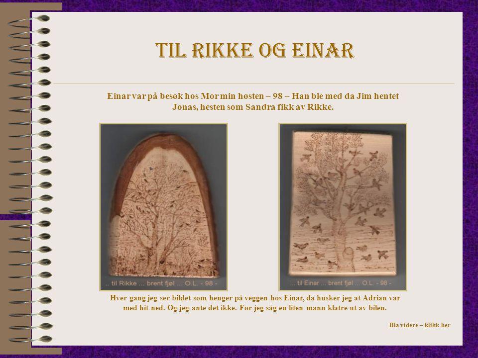 Til rikke og einar Einar var på besøk hos Mor min høsten – 98 – Han ble med da Jim hentet Jonas, hesten som Sandra fikk av Rikke. Hver gang jeg ser bi