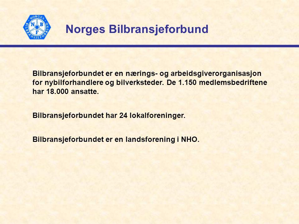 Norges Bilbransjeforbund Bilbransjeforbundet er en nærings- og arbeidsgiverorganisasjon for nybilforhandlere og bilverksteder.