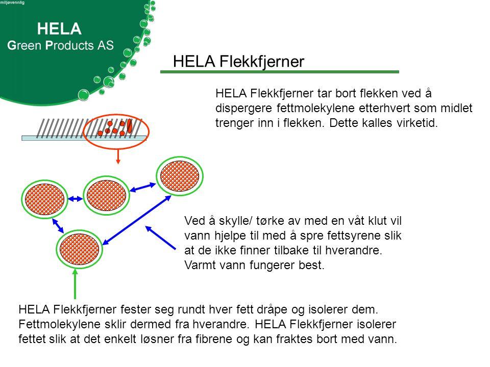 HELA Flekkfjerner HELA Flekkfjerner fester seg rundt hver fett dråpe og isolerer dem.