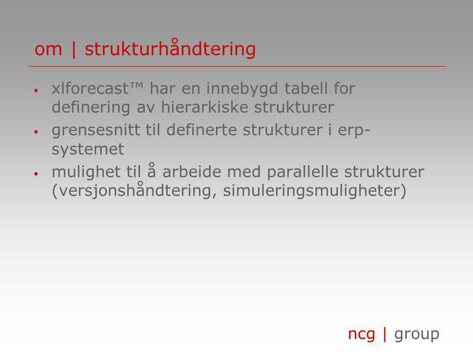 ncg | group om | strukturhåndtering • xlforecast™ har en innebygd tabell for definering av hierarkiske strukturer • grensesnitt til definerte strukturer i erp- systemet • mulighet til å arbeide med parallelle strukturer (versjonshåndtering, simuleringsmuligheter)