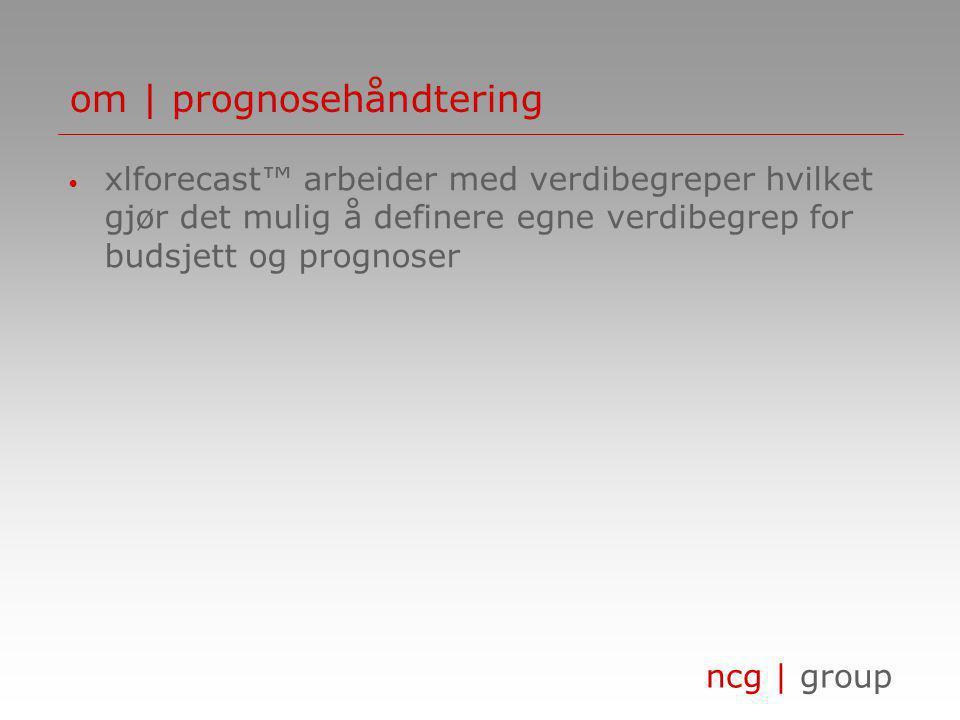ncg | group om | prognosehåndtering • xlforecast™ arbeider med verdibegreper hvilket gjør det mulig å definere egne verdibegrep for budsjett og prognoser