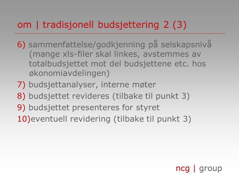 ncg | group om | tradisjonell budsjettering 2 (3) 6) sammenfattelse/godkjenning på selskapsnivå (mange xls-filer skal linkes, avstemmes av totalbudsjettet mot del budsjettene etc.