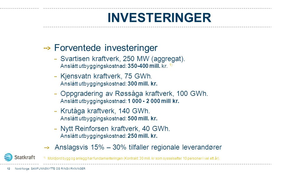 INVESTERINGER Forventede investeringer Svartisen kraftverk, 250 MW (aggregat). Anslått utbyggingskostnad: 350-400 mill. kr. 1) Kjensvatn kraftverk, 75
