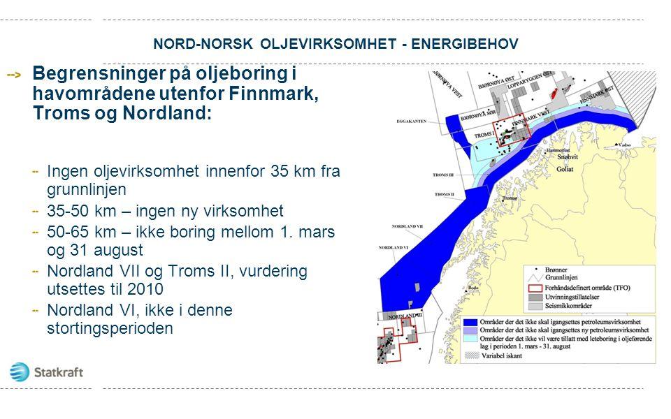 NORD-NORSK OLJEVIRKSOMHET - ENERGIBEHOV Begrensninger på oljeboring i havområdene utenfor Finnmark, Troms og Nordland: Ingen oljevirksomhet innenfor 3