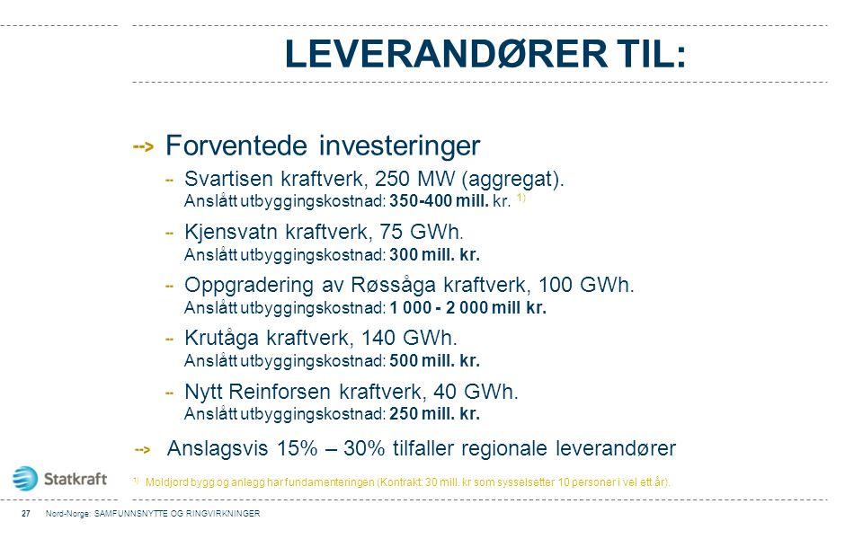 LEVERANDØRER TIL: Forventede investeringer Svartisen kraftverk, 250 MW (aggregat). Anslått utbyggingskostnad: 350-400 mill. kr. 1) Kjensvatn kraftverk