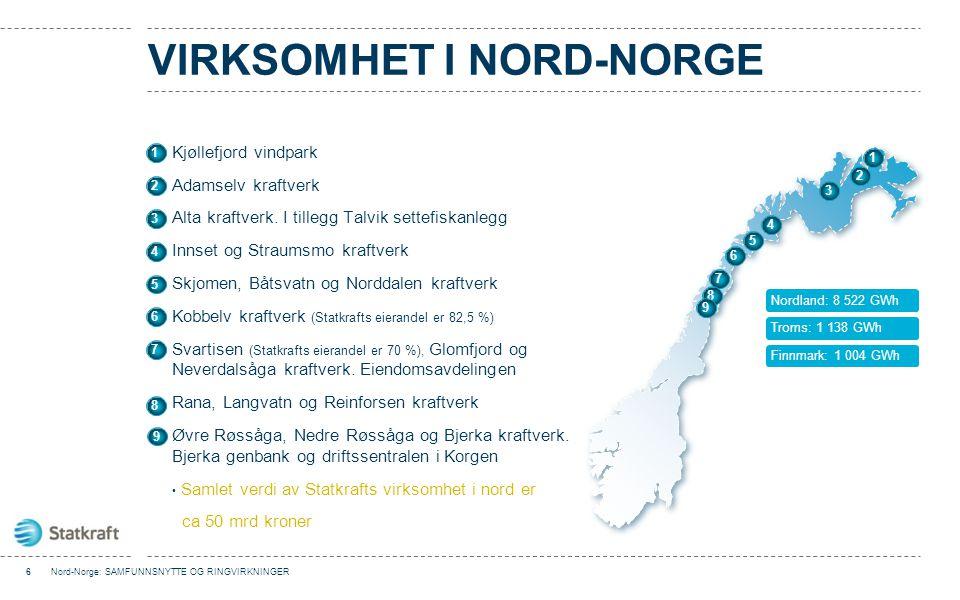 VIRKSOMHET I NORD-NORGE Kjøllefjord vindpark Adamselv kraftverk Alta kraftverk. I tillegg Talvik settefiskanlegg Innset og Straumsmo kraftverk Skjomen
