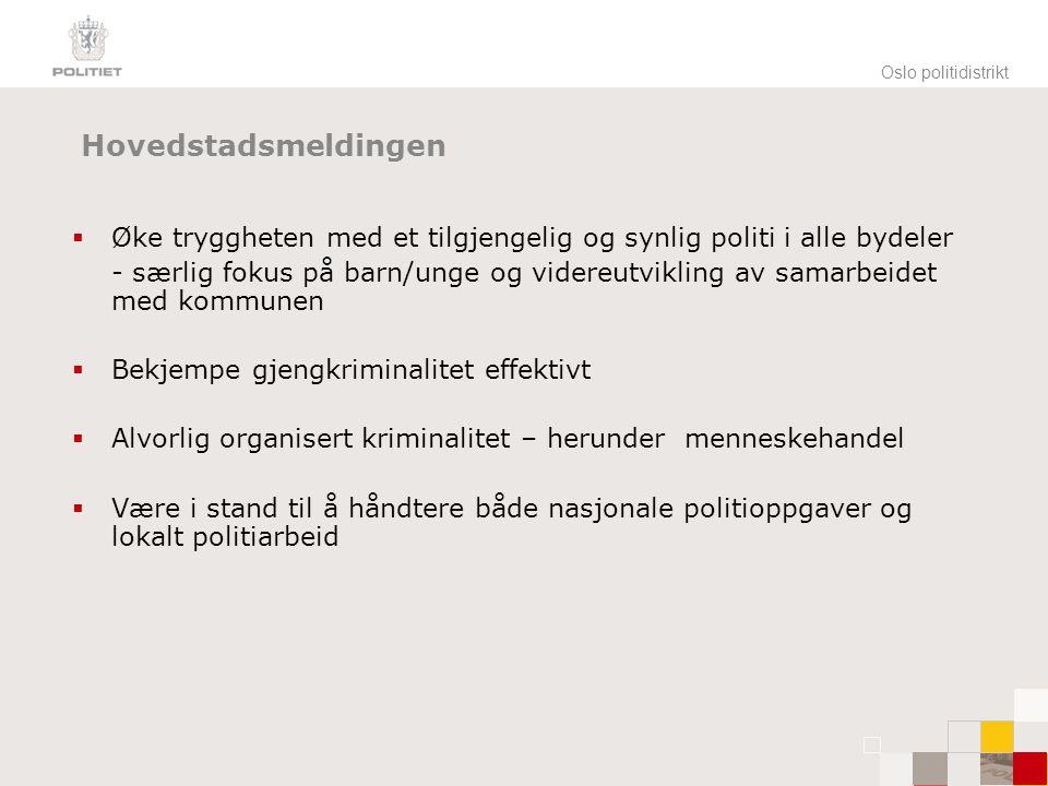 Oslo politidistrikt Satsningsområder  Volds- og sedelighetskriminalitet  Alvorlig organisert og grenseoverskridende kriminalitet  Menneskehandel  Gjeng/bandekriminalitet  Barn og unge  Vinningskriminalitet (POP og VIC)