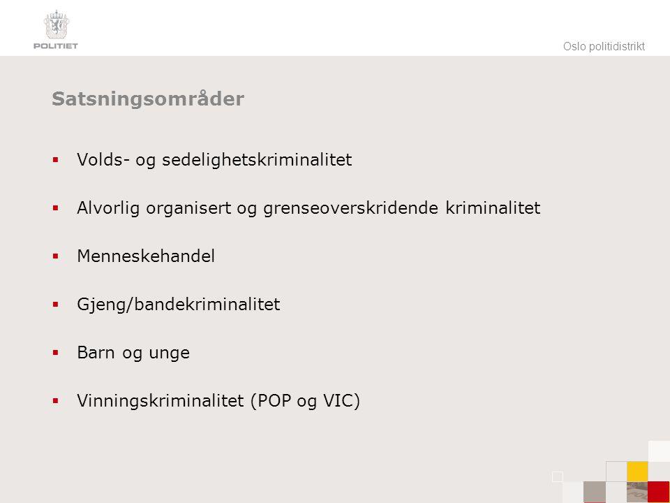 Oslo politidistrikt Satsningsområder  Volds- og sedelighetskriminalitet  Alvorlig organisert og grenseoverskridende kriminalitet  Menneskehandel 