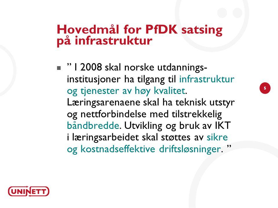 5 Hovedmål for PfDK satsing på infrastruktur  I 2008 skal norske utdannings- institusjoner ha tilgang til infrastruktur og tjenester av høy kvalitet.