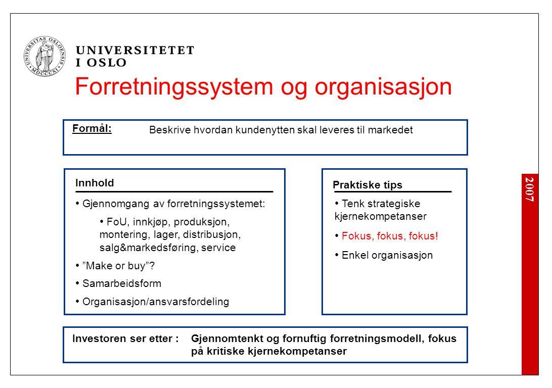 2007 Investoren ser etter : • Tenk strategiske kjernekompetanser • Fokus, fokus, fokus! • Enkel organisasjon Innhold Praktiske tips • Gjennomgang av f