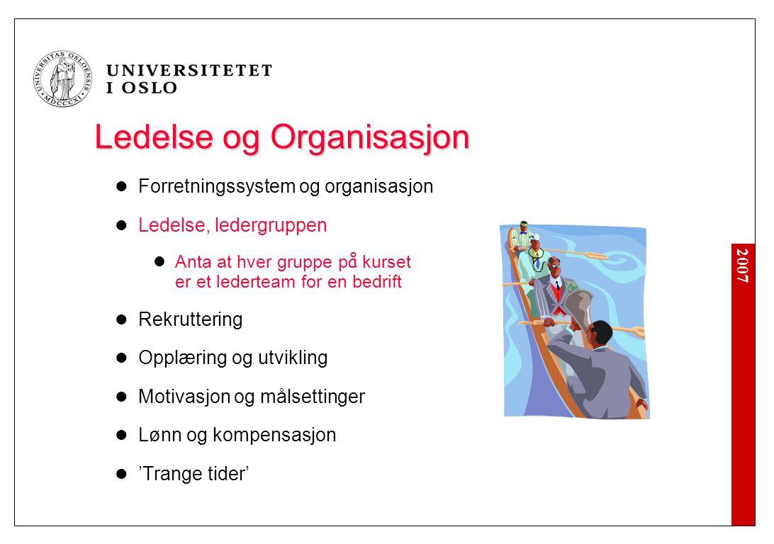 2007 Ledelse og Organisasjon  Forretningssystem og organisasjon  Ledelse, ledergruppen  Anta at hver gruppe p å kurset er et lederteam for en bedri
