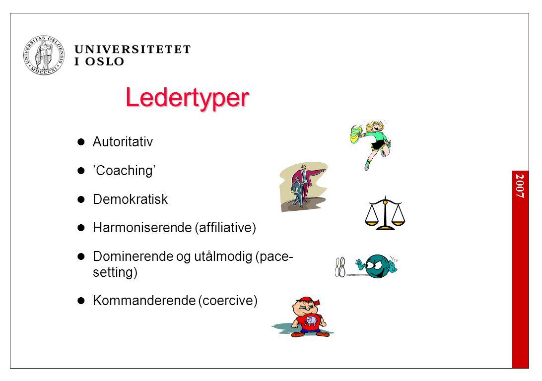 2007 Ledertyper  Autoritativ  'Coaching'  Demokratisk  Harmoniserende (affiliative)  Dominerende og utålmodig (pace- setting)  Kommanderende (co