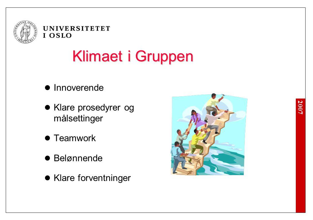 2007 Klimaet i Gruppen  Innoverende  Klare prosedyrer og målsettinger  Teamwork  Belønnende  Klare forventninger