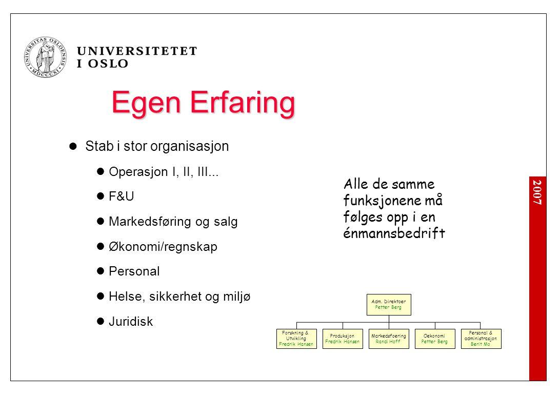 2007 Egen Erfaring  Stab i stor organisasjon  Operasjon I, II, III...  F&U  Markedsføring og salg  Økonomi/regnskap  Personal  Helse, sikkerhet