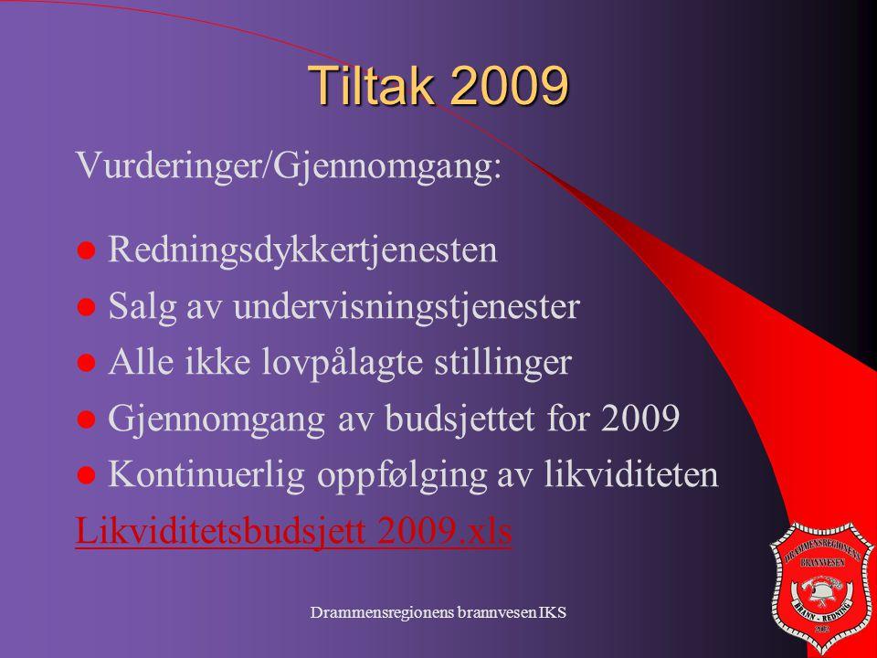 Drammensregionens brannvesen IKS Tiltak 2009 Vurderinger/Gjennomgang:  Redningsdykkertjenesten  Salg av undervisningstjenester  Alle ikke lovpålagt