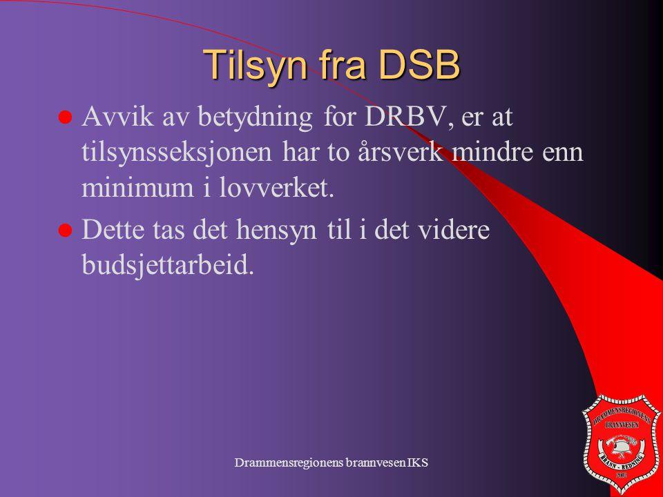 Drammensregionens brannvesen IKS Tilsyn fra DSB  Avvik av betydning for DRBV, er at tilsynsseksjonen har to årsverk mindre enn minimum i lovverket. 