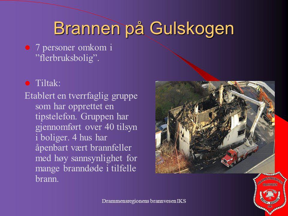 """Drammensregionens brannvesen IKS Brannen på Gulskogen  7 personer omkom i """"flerbruksbolig"""".  Tiltak: Etablert en tverrfaglig gruppe som har opprette"""