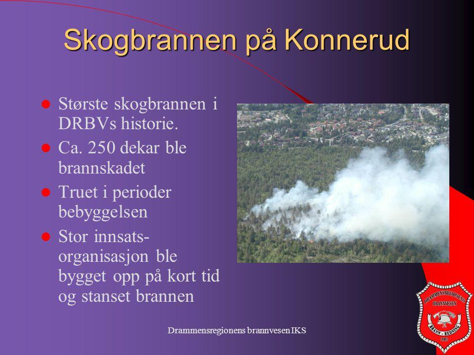 Drammensregionens brannvesen IKS Skogbrannen på Konnerud  Største skogbrannen i DRBVs historie.  Ca. 250 dekar ble brannskadet  Truet i perioder be