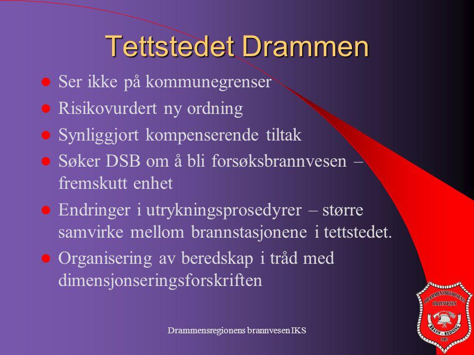 Drammensregionens brannvesen IKS Tettstedet Drammen  Ser ikke på kommunegrenser  Risikovurdert ny ordning  Synliggjort kompenserende tiltak  Søker