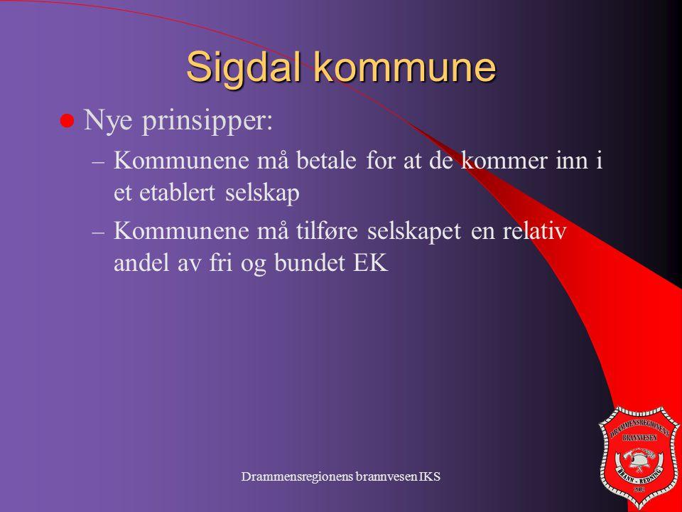 Drammensregionens brannvesen IKS Sigdal kommune  Nye prinsipper: – Kommunene må betale for at de kommer inn i et etablert selskap – Kommunene må tilf