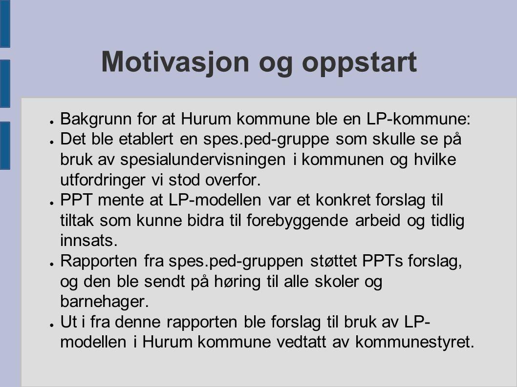 Motivasjon og oppstart ● Bakgrunn for at Hurum kommune ble en LP-kommune: ● Det ble etablert en spes.ped-gruppe som skulle se på bruk av spesialunderv