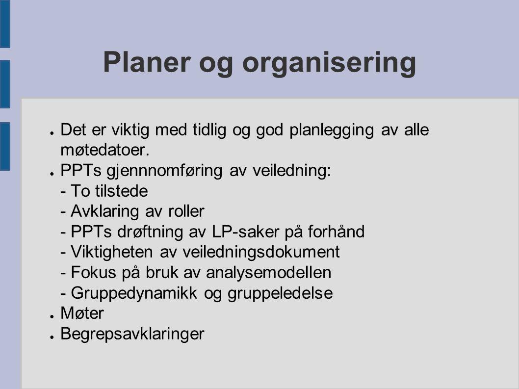 Planer og organisering ● Det er viktig med tidlig og god planlegging av alle møtedatoer. ● PPTs gjennnomføring av veiledning: - To tilstede - Avklarin