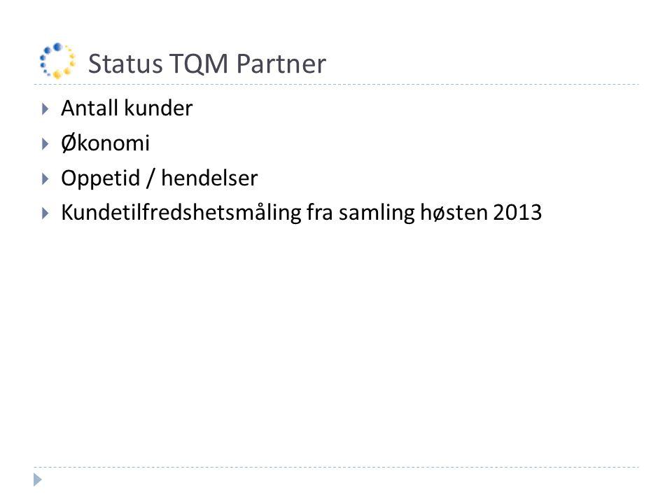 Status TQM Partner  Antall kunder  Økonomi  Oppetid / hendelser  Kundetilfredshetsmåling fra samling høsten 2013
