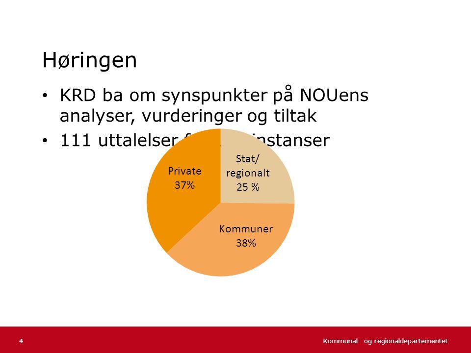 Kommunal- og regionaldepartementet Norsk mal: Tekst uten kulepunkter Høringen • KRD ba om synspunkter på NOUens analyser, vurderinger og tiltak • 111 uttalelser fra 114 instanser 4