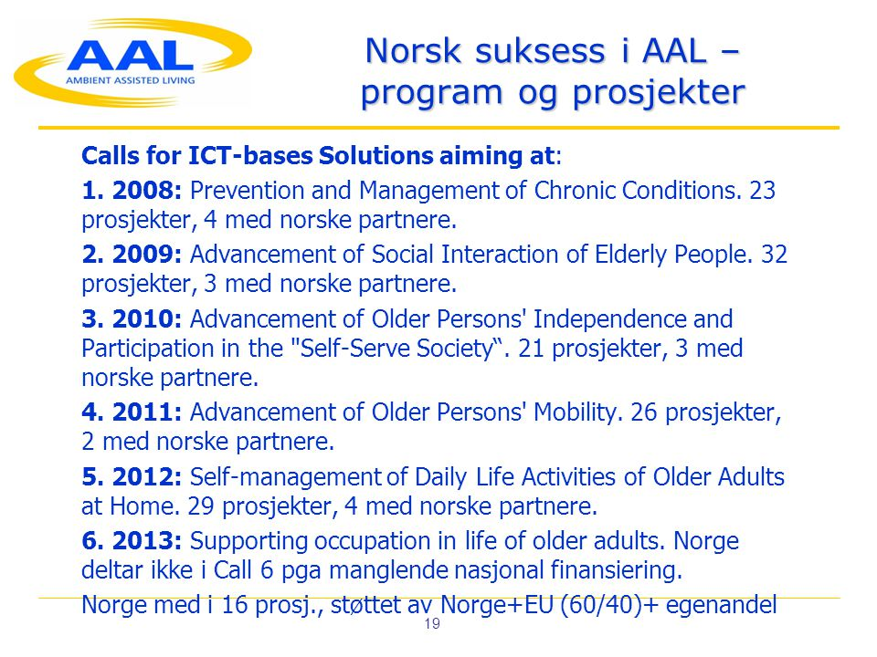 19 Norsk suksess i AAL – program og prosjekter Calls for ICT-bases Solutions aiming at: 1.